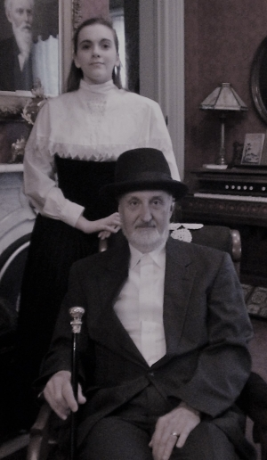 Belle Gardner, left, as portrayed by Nadine Connamacher, stands next to her father, Augustus, played by James Seidl.